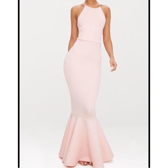 aa787155e4f5 Pretty Little Thing Cross Back Fishtail Maxi Dress.  M_5b15d10a0cb5aa10f21224b9